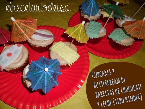 Cupcakes de barritas tipo kinder con buttercream